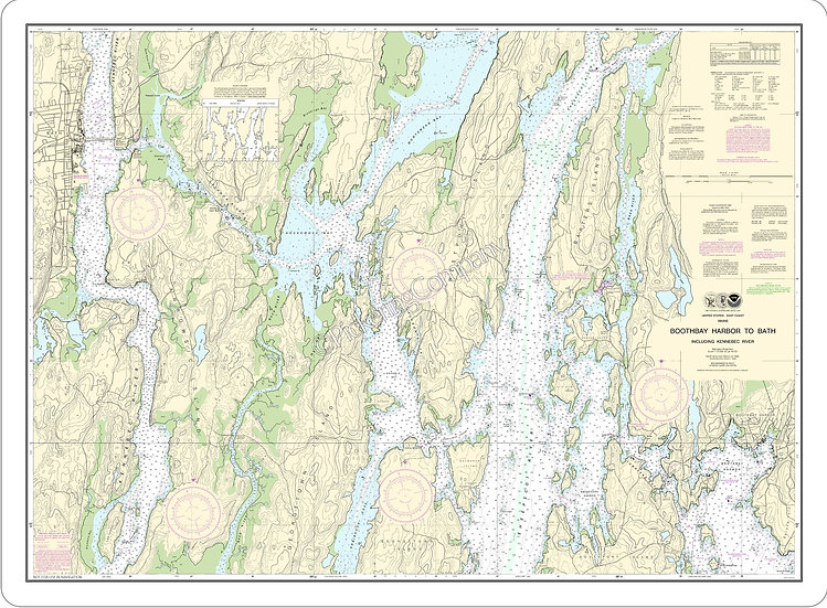 Nautical Chart 13296 'Boothbay Harbor to Bath, Incl Kennebec River' Placemat