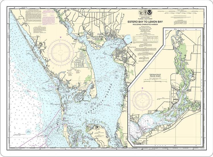 Nautical Chart 11426 'Estero Bay to Lemon Bay, incl. Charlotte Harbor' Placemat