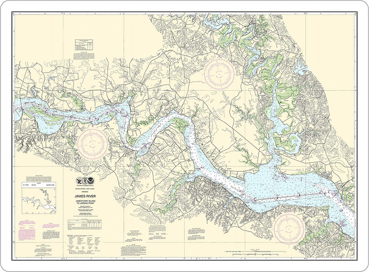 Nautical Chart 12251 'James River, Jamestown Is to Jordan Point' Placemat
