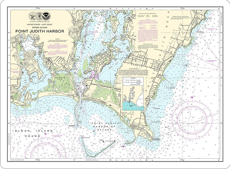 Nautical Chart 13219 'Point Judith Harbor' Placemat
