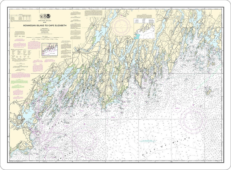 Nautical Chart 13288 'Monhegan Island to Cape Elizabeth' Placemat
