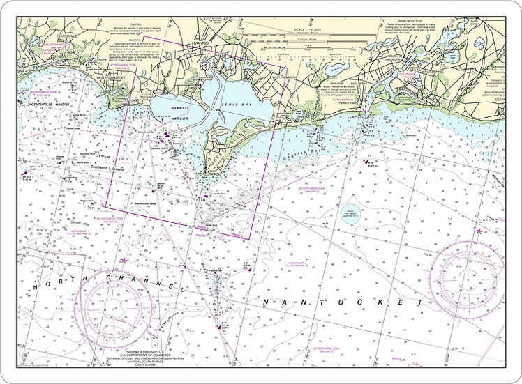 Nautical Chart 13229 'Hyannis Harbor inset' Placemat