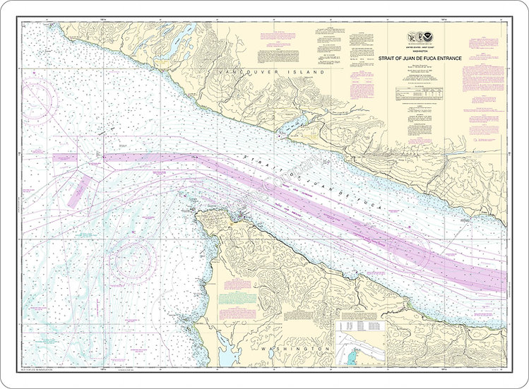 Nautical Chart 18460 'Strait of Juan De Fuca Entrance' Placemat