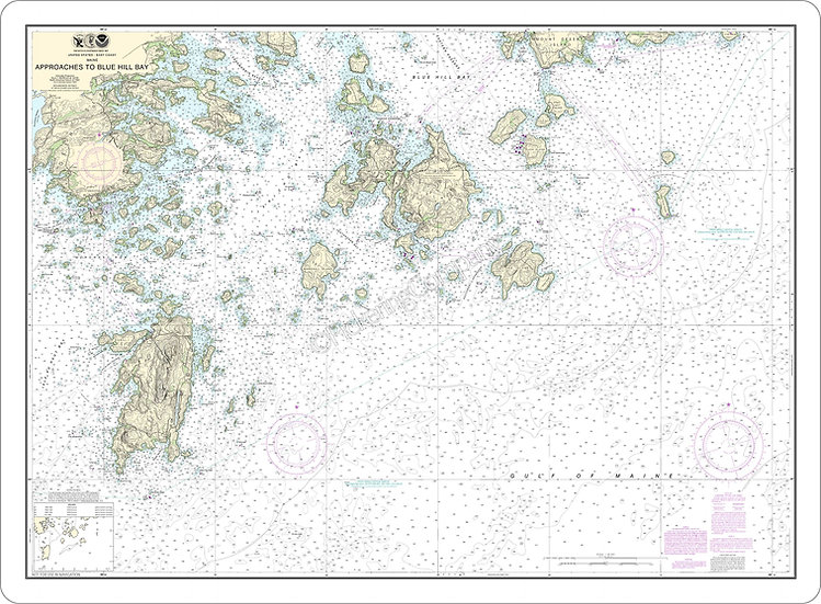 Nautical Chart 13313 'Approaches to Blue Hill Bay' Placemat