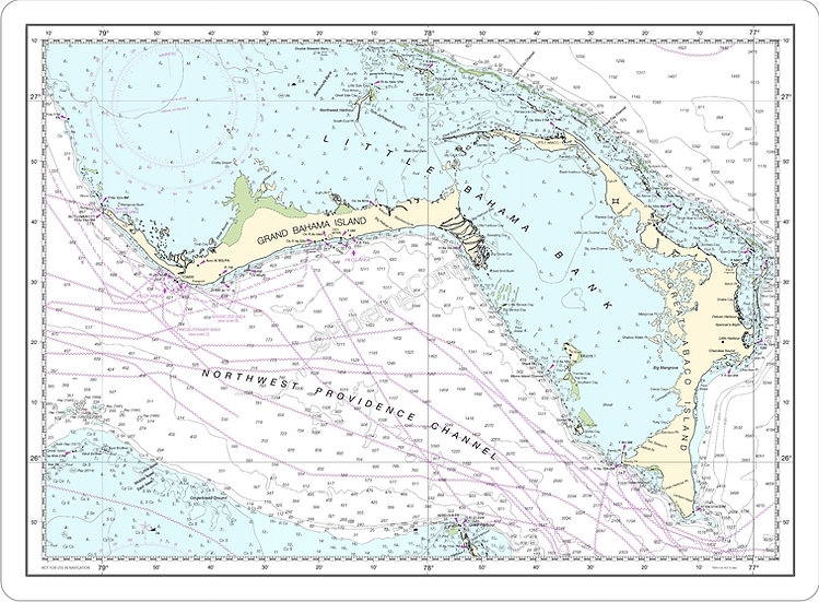 Nautical Chart 4149 'Grand Bahama Great Abacos' Placemat