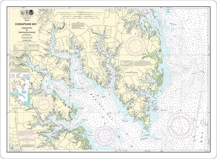 Nautical Chart 12238 'Chesapeake Bay, Mobjack Bay & York River Ent.' Placemat