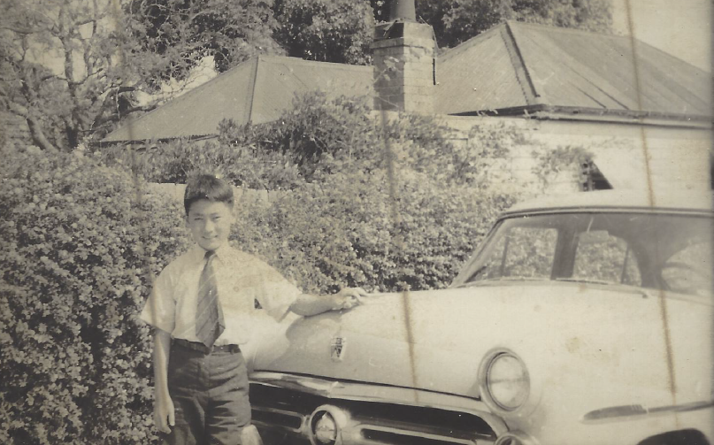 Dad with the family car, circa 1952
