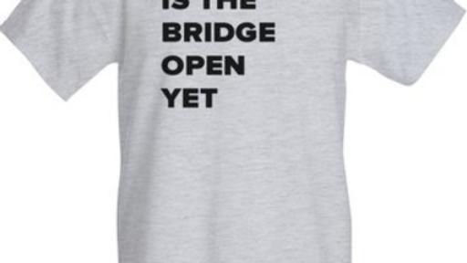 IS THE BRIDGE OPEN YET novelty shirt (CURVY CUT)