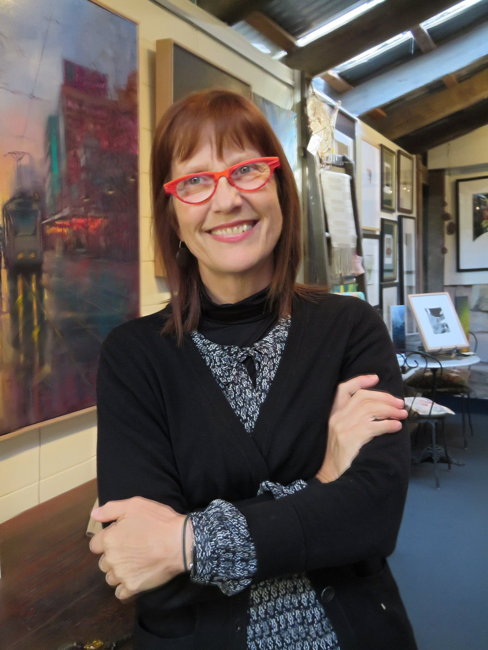Dr Robyn Williams, Owner/Curator of Purple Noon Gallery
