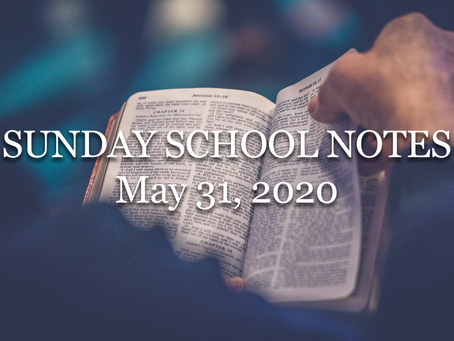 Sunday School: The Confidence of Our Sanctification (Romans 8:1-4) - 5/31/20