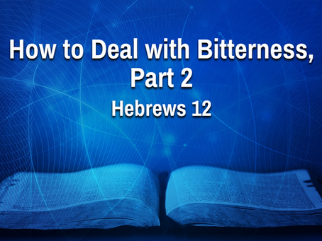 How to Deal with Bitterness, Part 2 (Hebrews 12) - 7/21/21