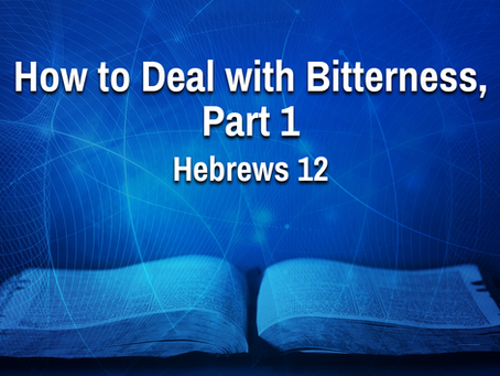 How to Deal with Bitterness, Part 1 (Hebrews 12) - 7/14/21