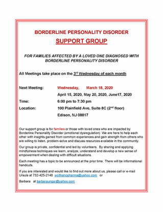 Support Group for Parents or Relatives Affected by a Loved One with Borderline Personality Disorder,