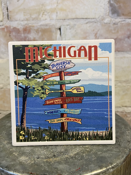 Michigan Directions Coaster