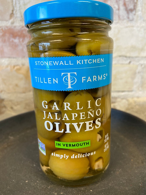 Tillen Farms Garlic Jalapeño Olives in Vermouth