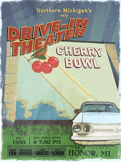 "Cherry Bowl Drive In Poster - 18""x24"""
