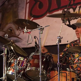 Tom Staley behind the kit with the Terry Adams Crazy Trio