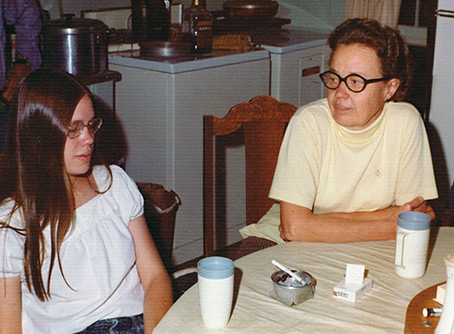 Charles E. Rice: photo of Brenda & Penny Campbell, 1975