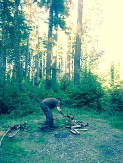 Brian chopping firewood