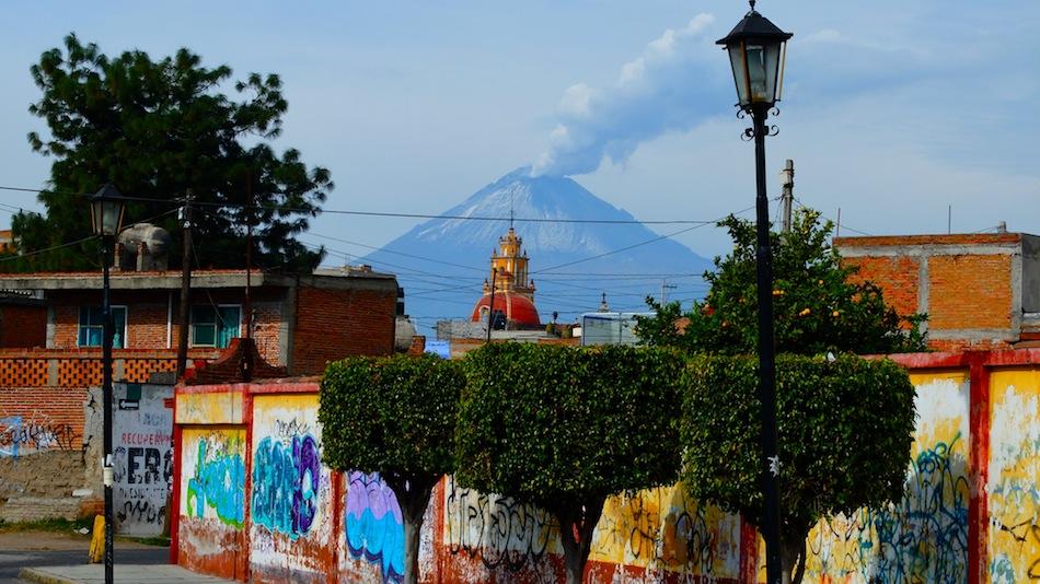 Graffiti and a smoking volcano