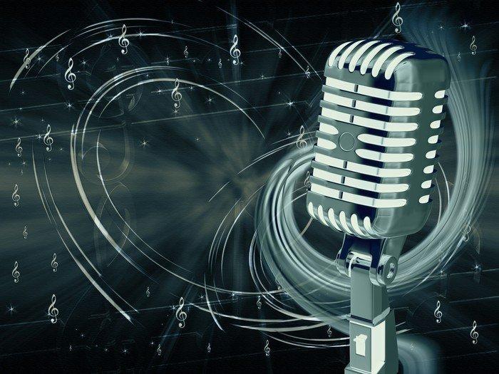 fotomurales-microfono-en-un-fondo-abstra