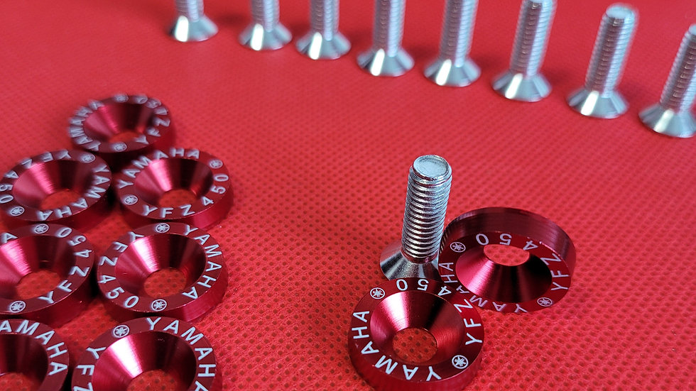 YFZ 450 RED WASHERS (10 SETS)