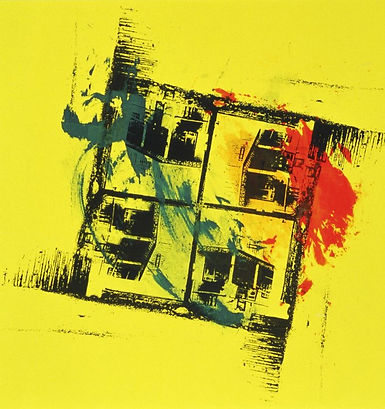 Donkey red yellow blue monotype ink California