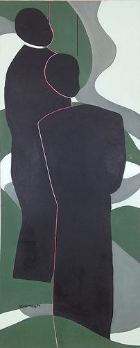 Race figures lynching oil painting green black