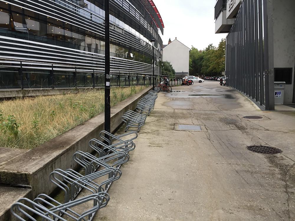 Empty bike racks at the University