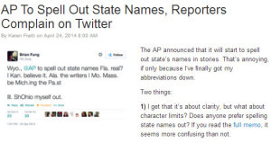 Five rules I'm not losing sleep over: #4 State names