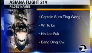 Lessons to learn from TV/NTSB mistake with Asiana pilots' names