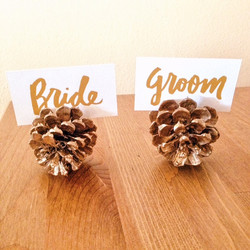 Gold Pinecone Place Card Holders