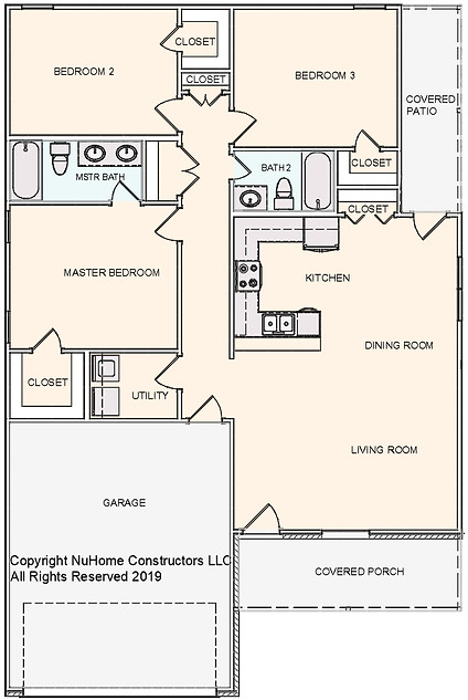 NuHome 1402 sq ft, 3 Bedroom with 2 Car Garage