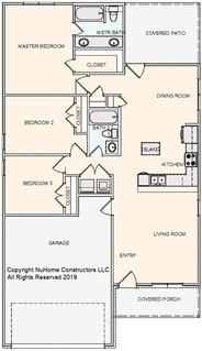 NuHome 1287 sq ft, 3 Bedroom, 2 Car Garage