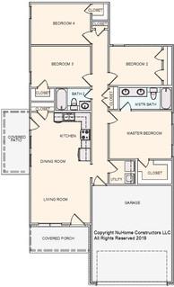 NuHome 1379 sq ft, 4 Bedroom with  2 Car Garage