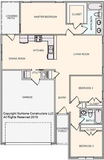 NuHome 1284 sq ft, 3 Bedroom, 2 Car Garage