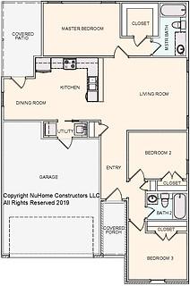 NuHome 1214 sq ft, 3 Bedroom with 2 Car Garage