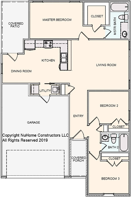 NuHome 1214 sq ft, 3 Bedroom with 2 Car Garage