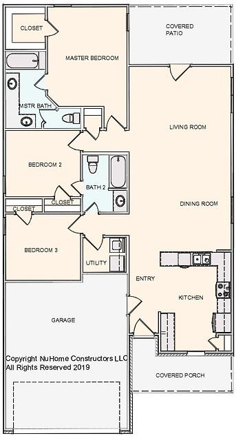 NuHome 1472 sq ft, 3 Bedroom, 2 Car Garage