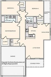NuHome 1350 sq ft, 3 Bedroom, 2 Car Garage
