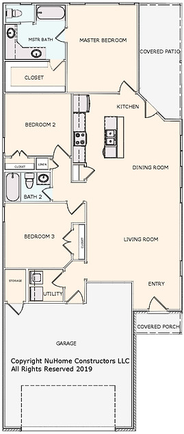 NuHome 1405 sq ft, 3 Bedroom with 2 Car Garage