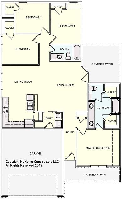 NuHome 1546 sq ft, 4 Bedroom, 2 Car Garage
