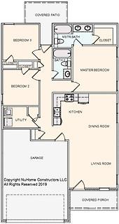 NuHome 1216 sq ft, 3 Bedroom, 2 Car Garage