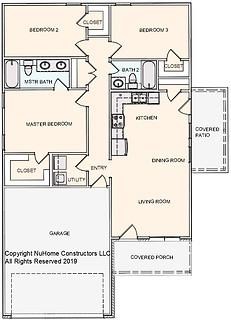 NuHome 1200 sq ft, 3 Bedroom, 2 Car Garage