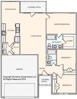 NuHome 1316 sq ft, 3 Bedroom, 2 Car Garage