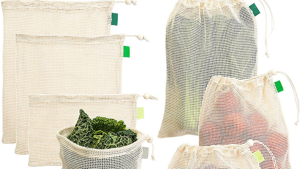 7 Piece Vegetable Fruit Mesh Shopping Pouch/Kitchen  Organizer