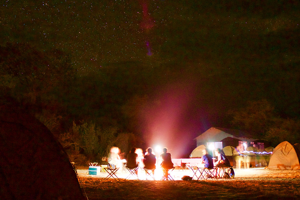 Open camping in the Serengeti