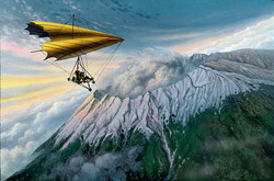 Microlight over Raung Volcano