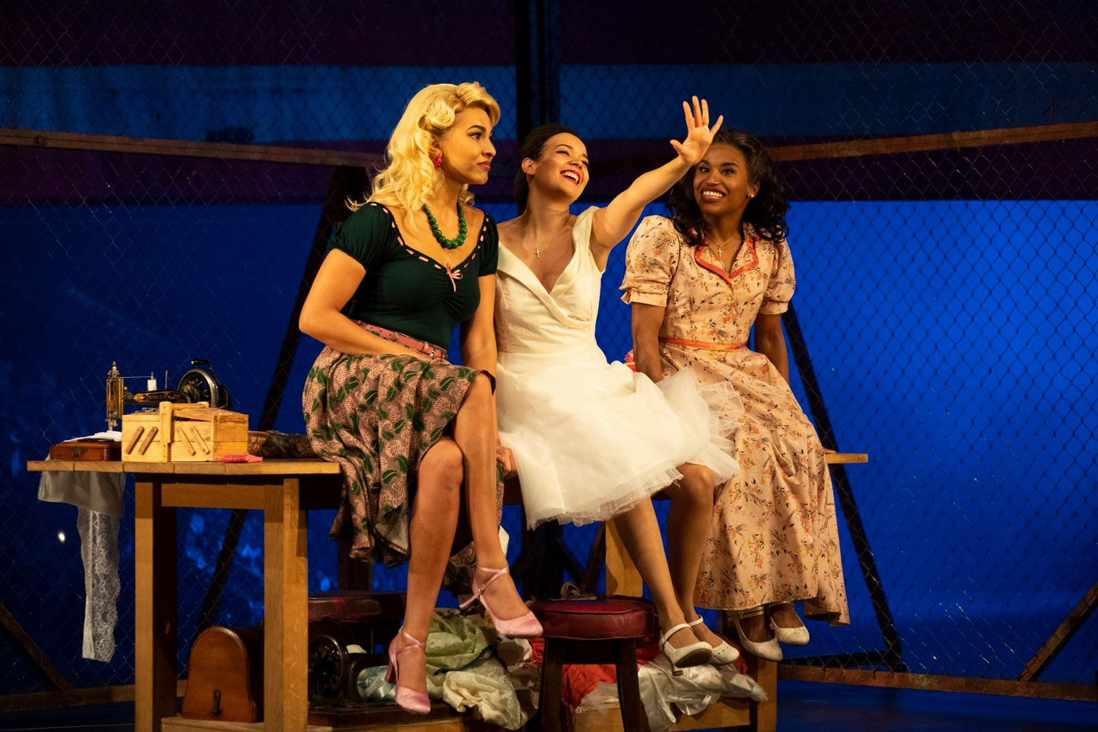 West Side Story. Curve Theatre, Leicester. Abigail Climer, Adriana Ivelisse, Mireia Mambo