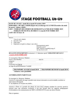 VACANCES SCOLAIRES : DES STAGES DE FOOTBALL AU PROGRAMME (U8 à U11) !